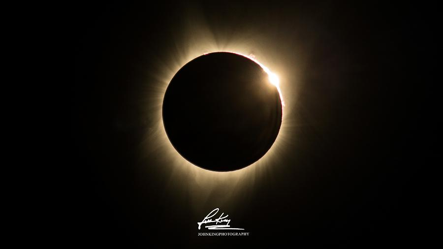 Great American Eclipse 16x9 Totality Square as seen in Albany, Oregon Signature Edition. by John King