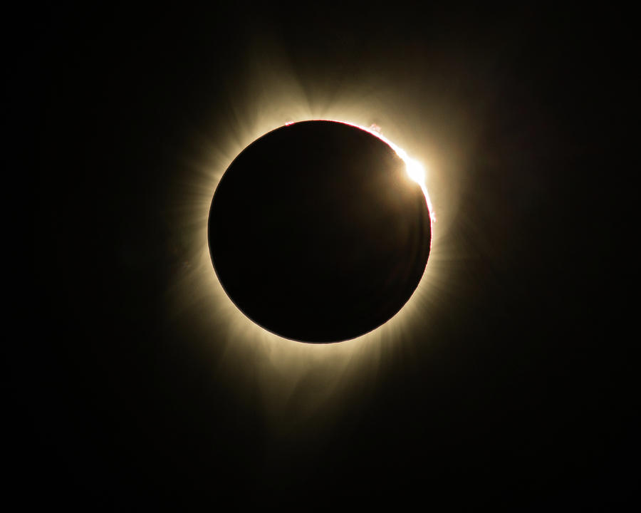 Great American Eclipse Diamond Ring 5x7 as seen in Albany, Oregon. by John King