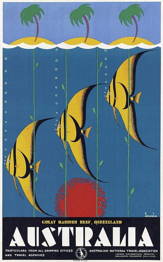 Great Barrier Reef, Queensland, Australia - Retro Travel Poster - Vintage Poster Mixed Media