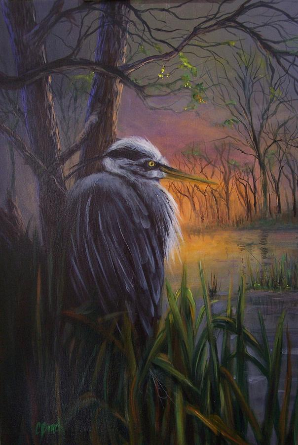 Bird Painting - Great Blue At Sunset by Colleen Birch