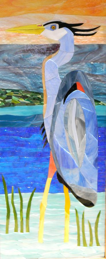 Art Glass Mosaic Glass Art - Great Blue Heron 2 by Charles McDonell