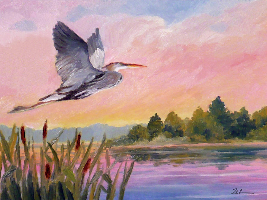 Great Blue Heron at Dawn by Janet Zeh