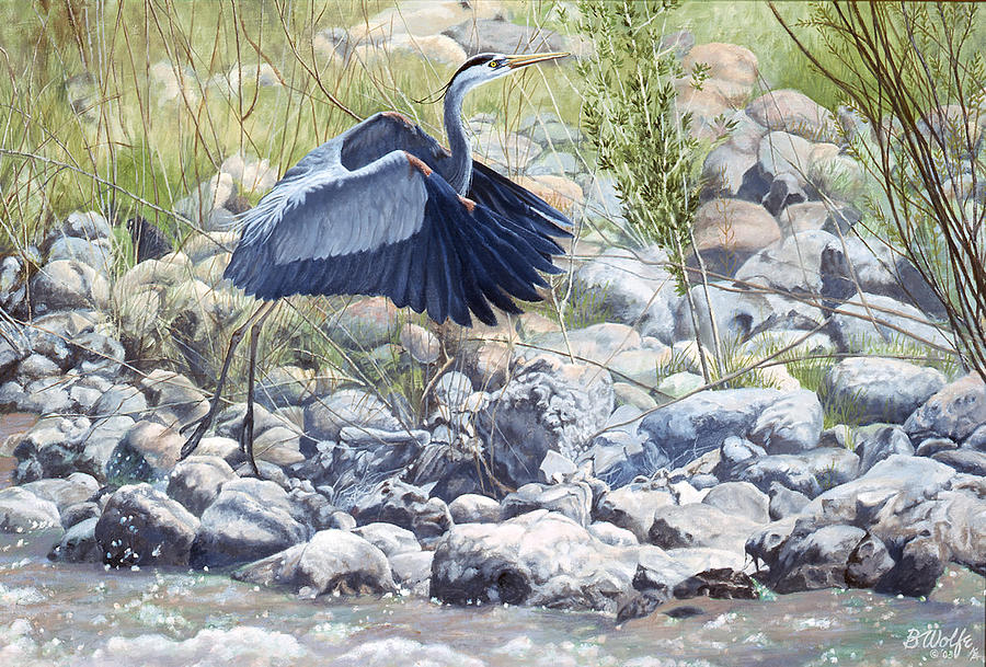 Great Blue Heron Painting by Bassel Wolfe