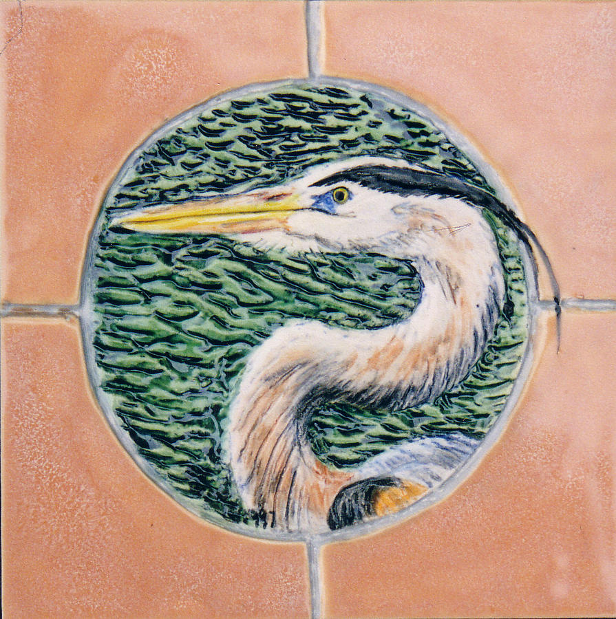 Ceramic Art Tile Painting - Great Blue Heron by Dy Witt