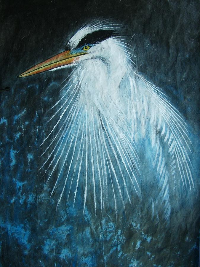 Nature Painting - Great Blue Heron by Jian Hua Li