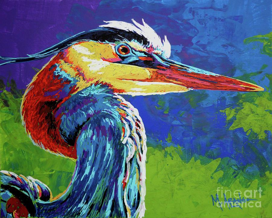Blue Heron Painting - Great Blue Heron by Maria Arango