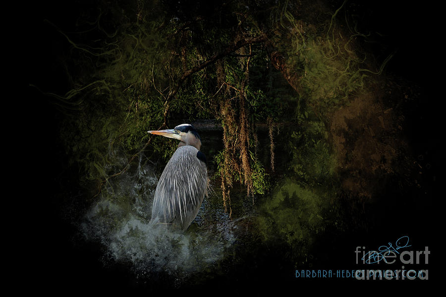 Nature Mixed Media - Great Blue Heron On The River by Barbara Hebert