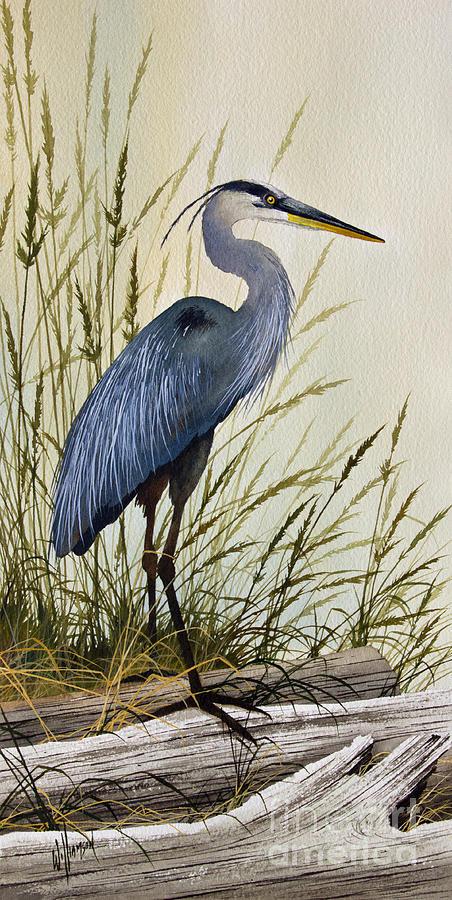 Great Blue Heron Painting - Great Blue Heron Splendor by James Williamson