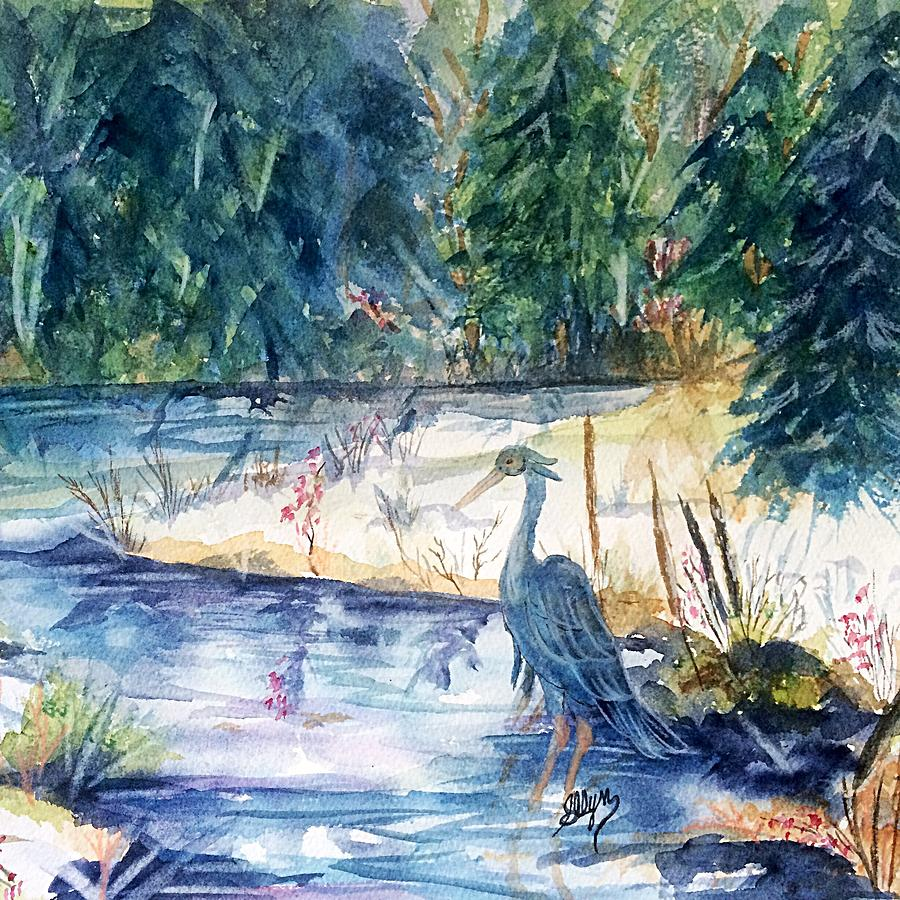 Heron Painting - Great Blue Heron Square Cropped  by Ellen Levinson