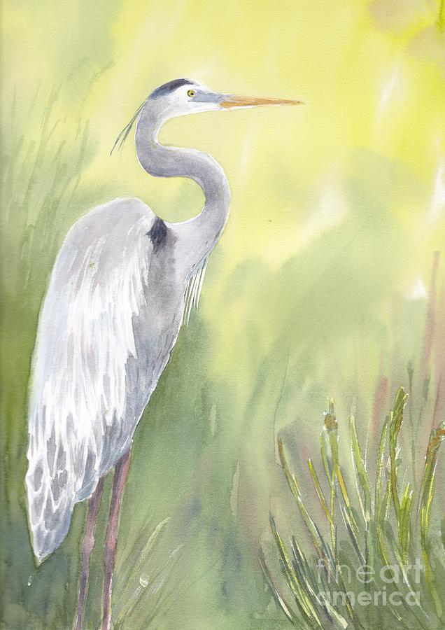 Blue Heron Painting - Great Blue Heron by Yohana Knobloch