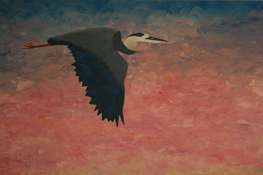 Great Blue Heron Painting - Great Blue by Nick Flavin