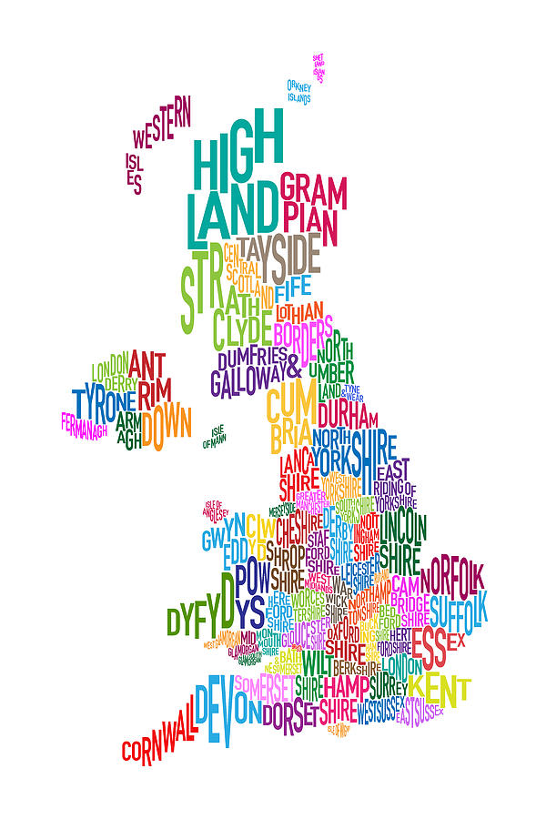 Text Map Digital Art - Great Britain County Text Map by Michael Tompsett