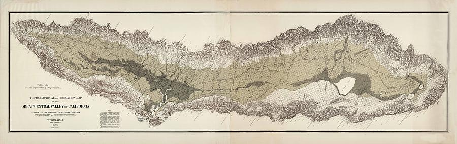 Great Central Valley Of California - Topographical Map - Irrigation Map - Historical Map Drawing