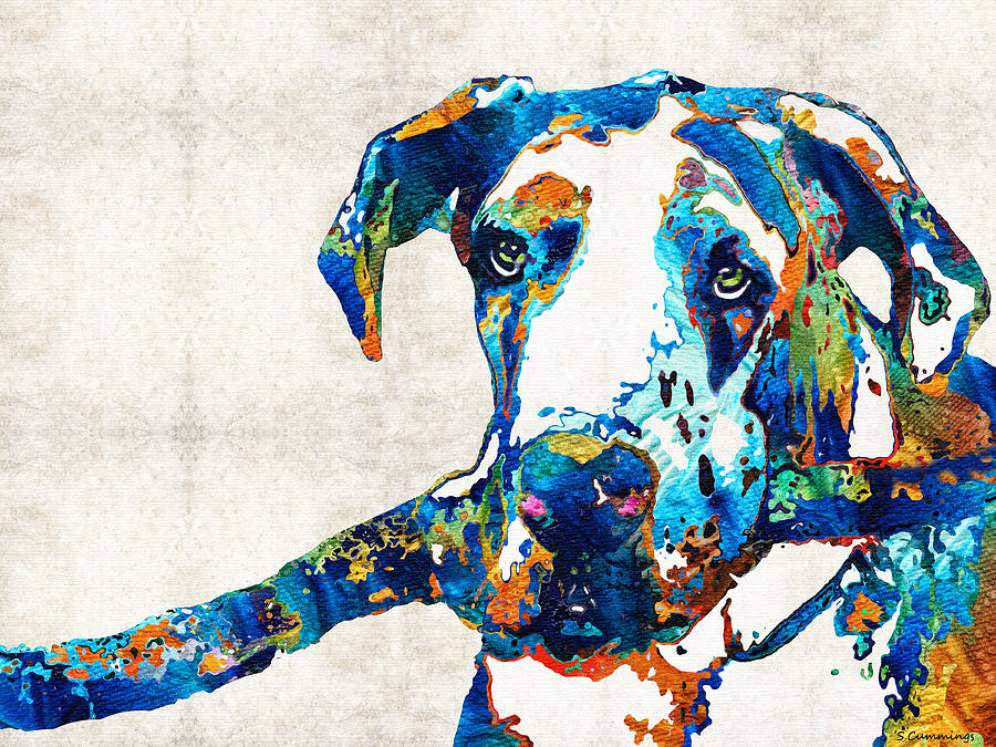 Great Dane Painting - Great Dane Art - Stick With Me - By Sharon Cummings by Sharon Cummings