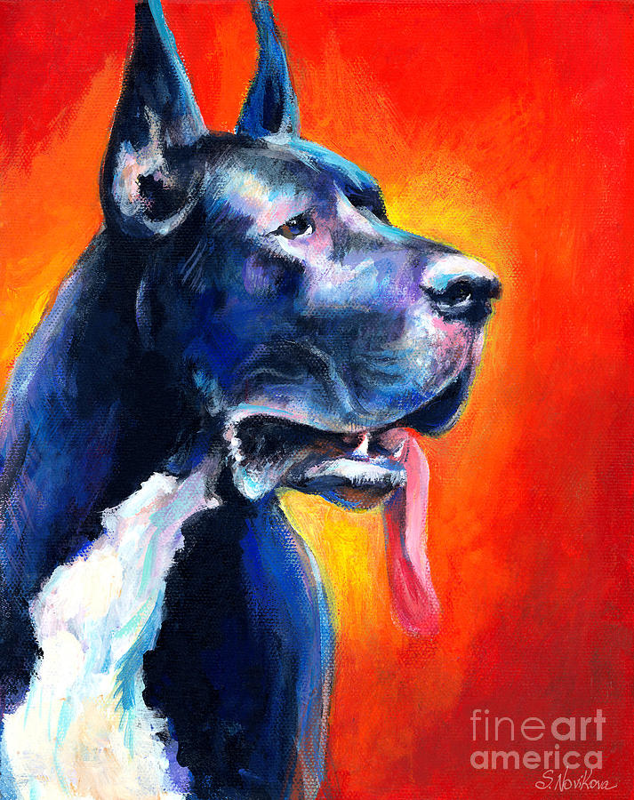 Black Great Dane Painting - Great Dane Dog Portrait by Svetlana Novikova