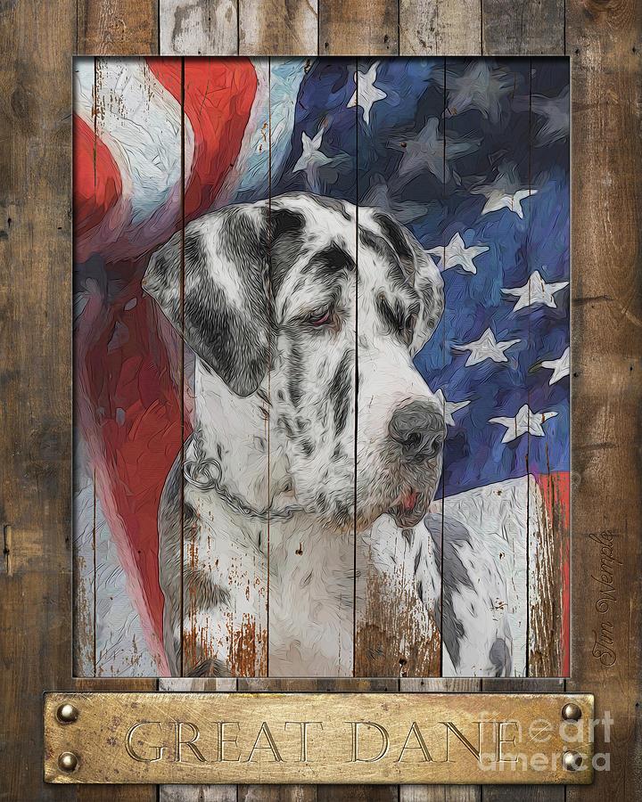 Great Dane Digital Art - Great Dane Flag Poster by Tim Wemple