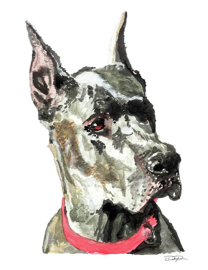 Great Dane Painting - Great Dane Watercolor by Dan Pearce