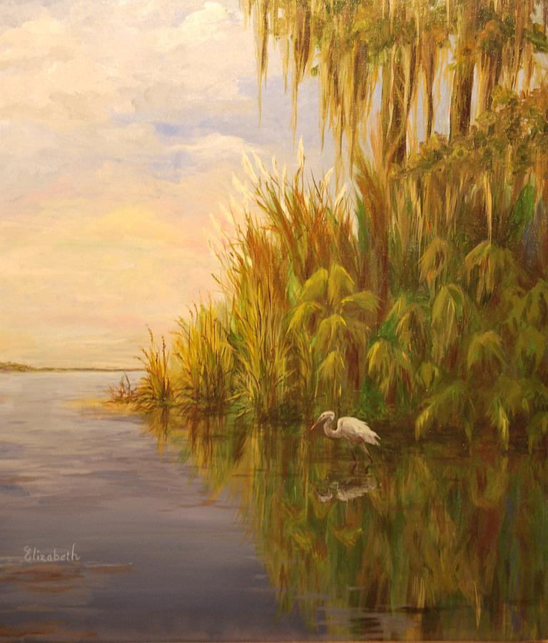 Egret Painting - Great Egret On Marsh by Beth Maddox