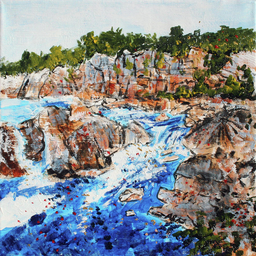 Great Falls Painting - Great Falls Waterfall 201745 by Alyse Radenovic