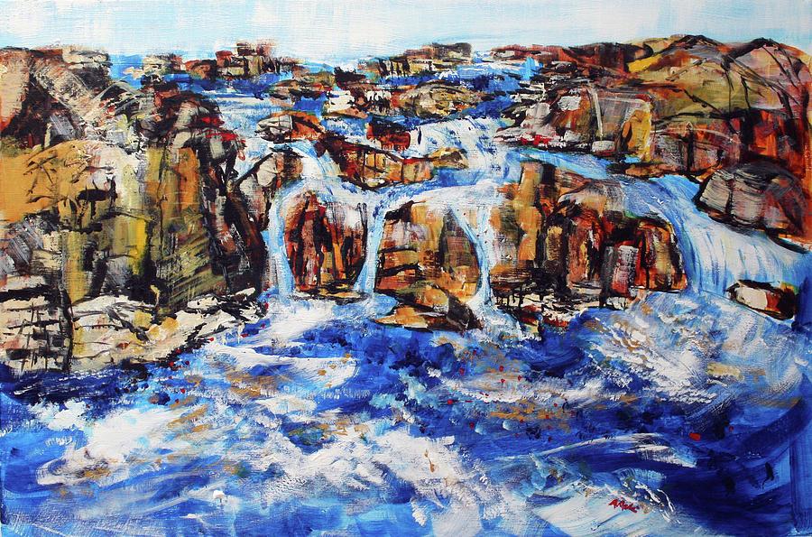 Potomac River Painting - Great Falls Waterfall 201753 by Alyse Radenovic