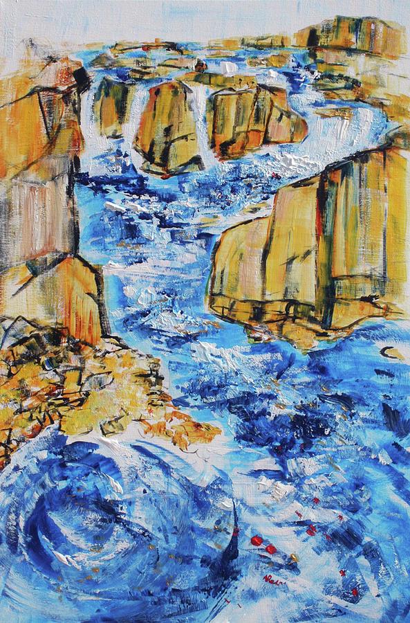 Azure Painting - Great Falls Waterfall 201754 by Alyse Radenovic