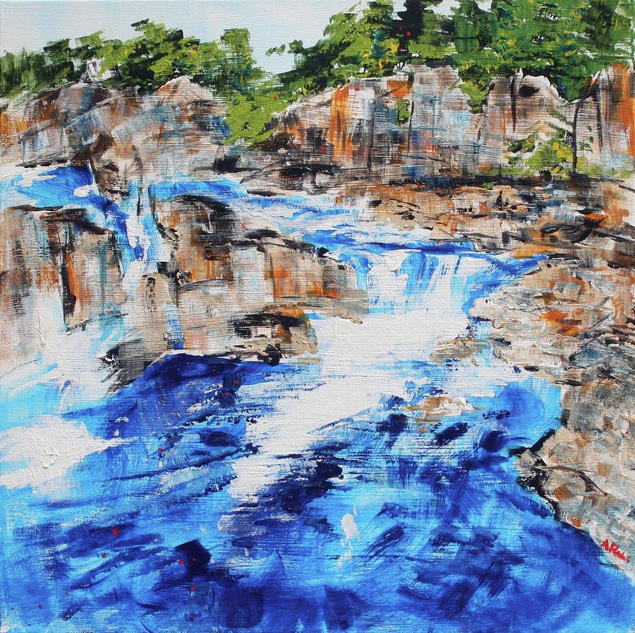 Waterfall Painting - Great Falls Waterfall 201826 by Alyse Radenovic