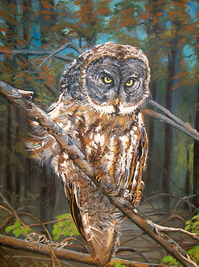 Tags Painting - Great Grey Owl 2 by Sharon Duguay