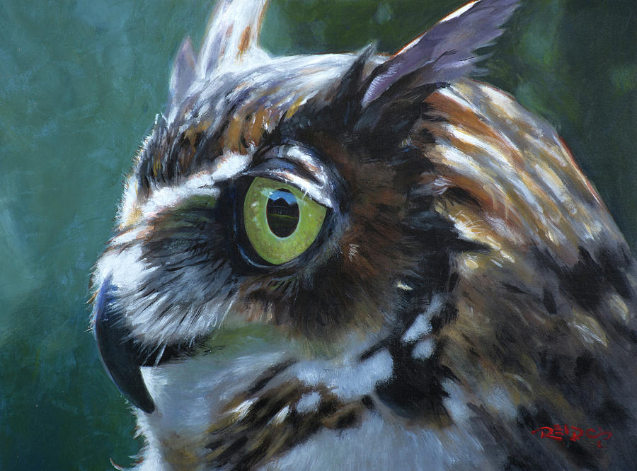 Acrylic Painting - Great Horned Owl by Christopher Reid