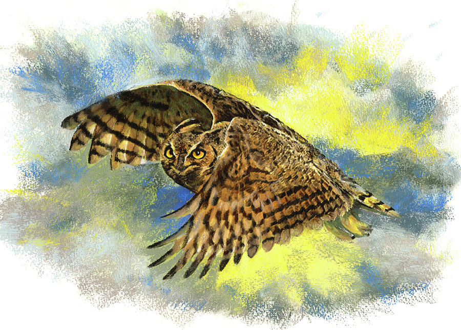 Predators Pastel - Great Horned Owl by Janice Lawrence