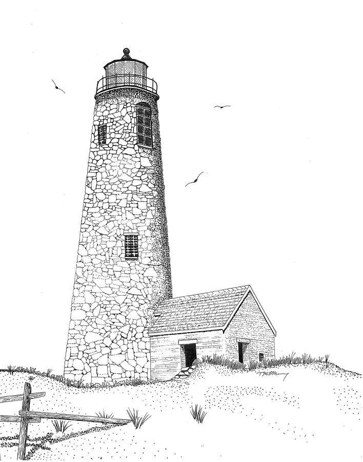 Line Drawing Lighthouse : Great point lighthouse drawing by tim murray