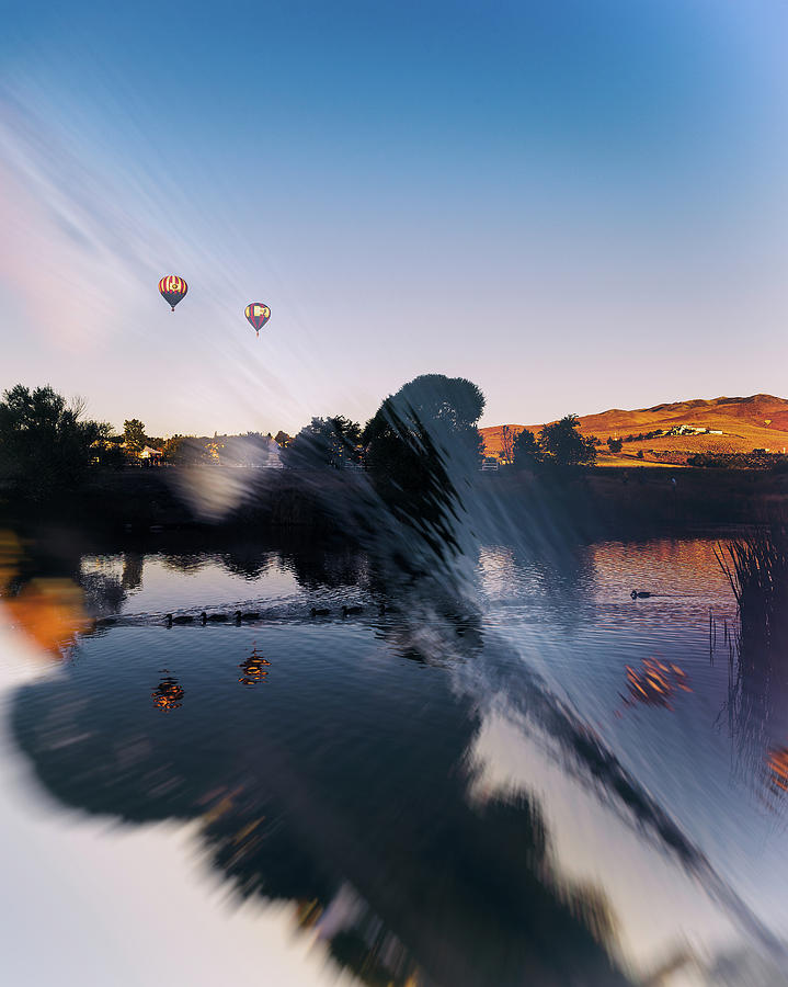 Great Reno Balloon Race Double Exposure And Reflection Of Ducks And Balloons In Pond At Sunrise Photograph