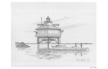 Great Shoals Lighthouse Drawing by Mike  Goebel