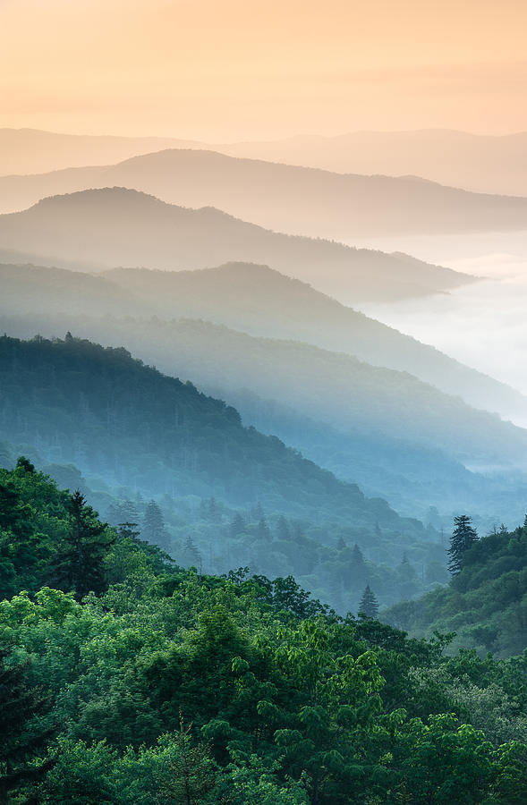 Great Smoky Mountains Photograph - Great Smoky Mountains National Park Oconaluftee River Valley Sunrise by Mark VanDyke