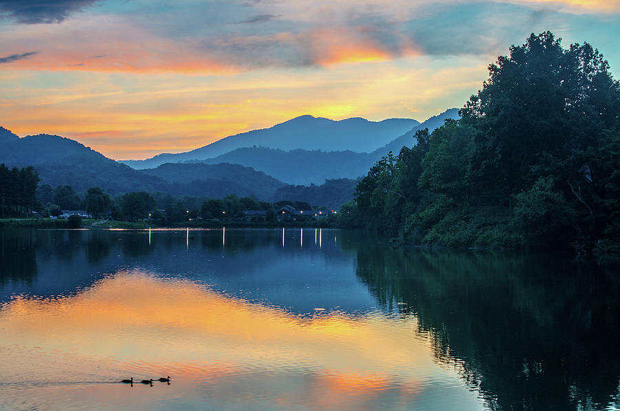 Great Smoky Mountains Nc Lake Junaluska Sunset Reflection