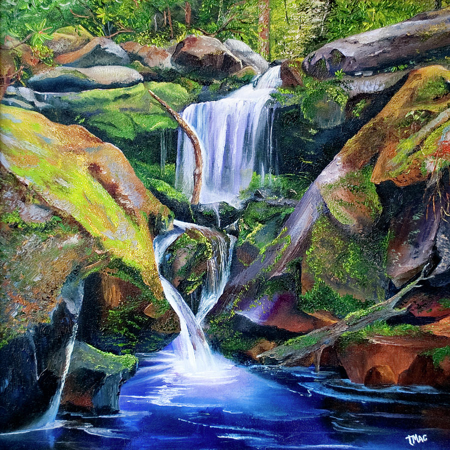 Landscape Painting - Great Smoky Waterfall by Terry R MacDonald