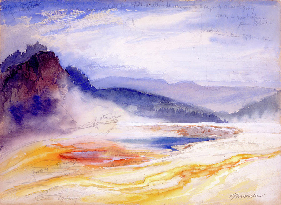 Moran Painting - Great Springs Of The Fire Hole River by Thomas Moran