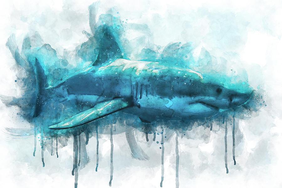 Shark Digital Art - Great White by Aged Pixel