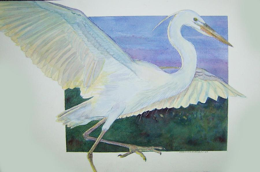 Birds Painting - Great White Egret by Carmen Durden
