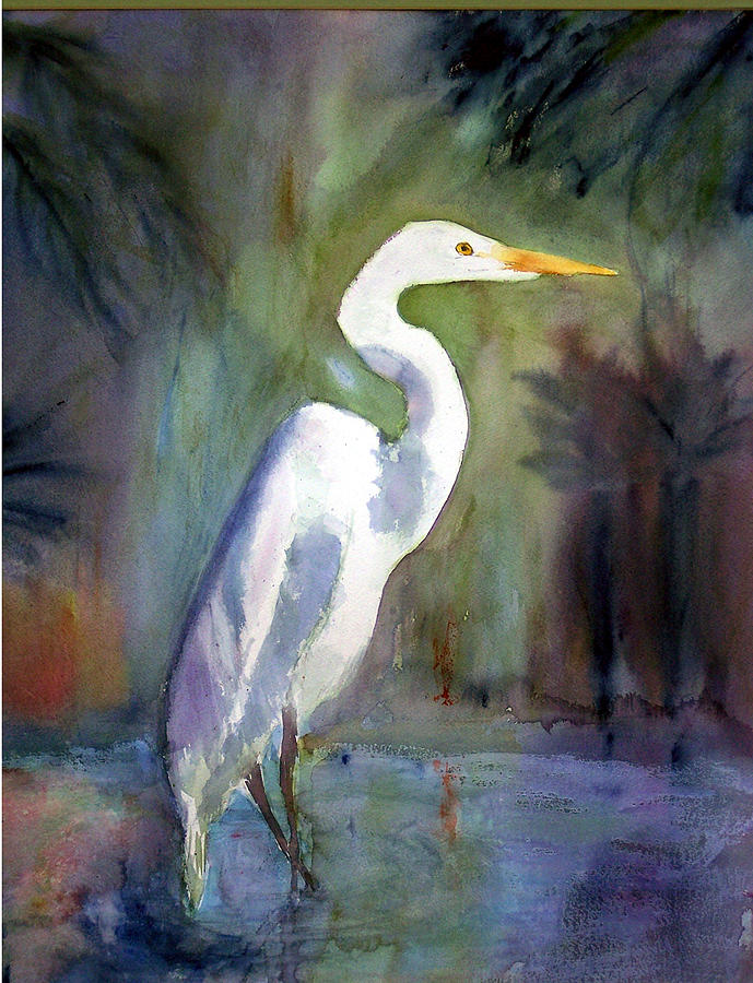 Great White Egret Painting - Great White Egret by Carol Sprovtsoff