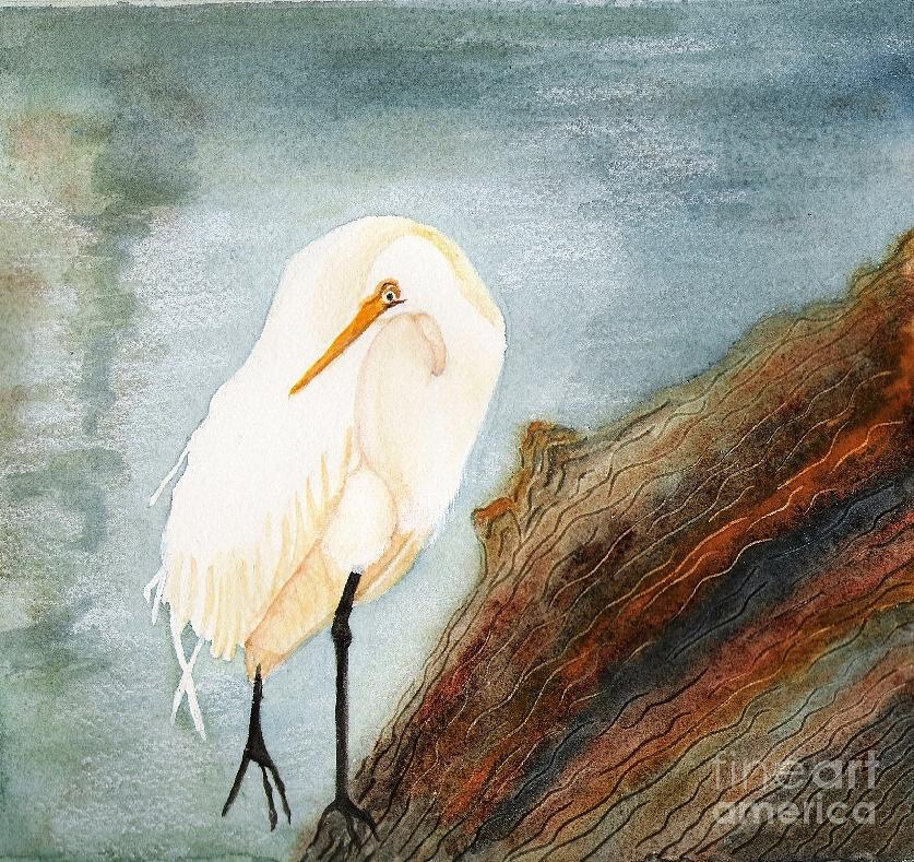 Great White Egret Painting by Georgia Johnson