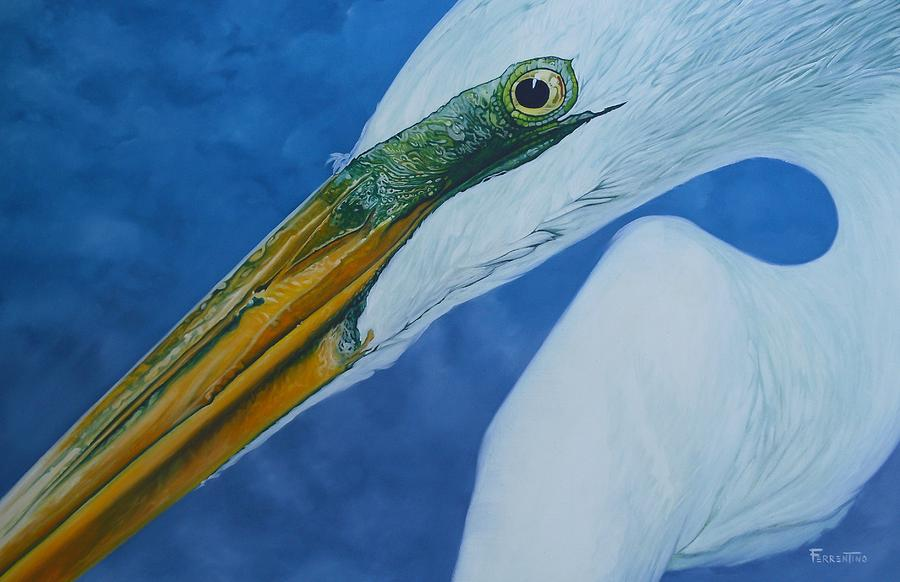 Egret Painting - Great White Egret by Jon Ferrentino