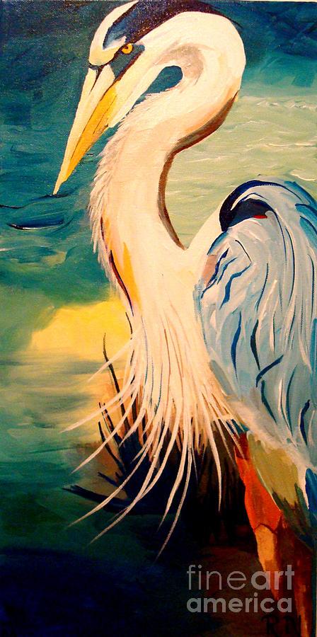 Bird Painting - Great White Heron by Becka Noel