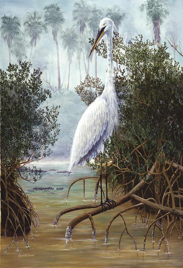 White Heron Painting - Great White Heron by Kevin Brant