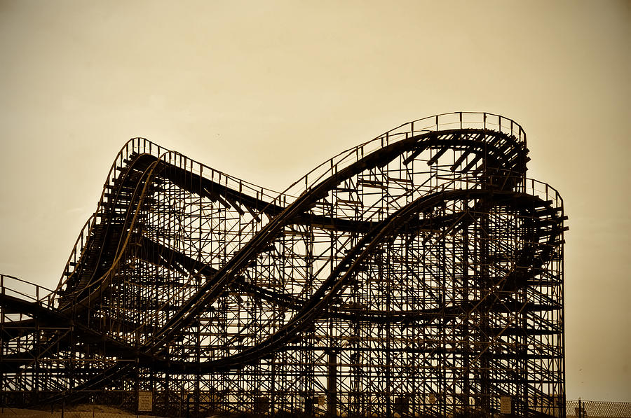 Great White Photograph - Great White Roller Coaster - Adventure Pier Wildwood Nj In Sepia by Bill Cannon