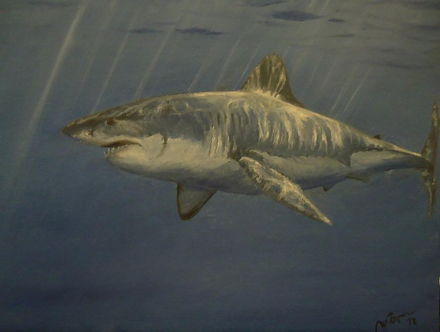 Great White Shark Painting by Alexandros Tsourakis  Great White Shark Painting