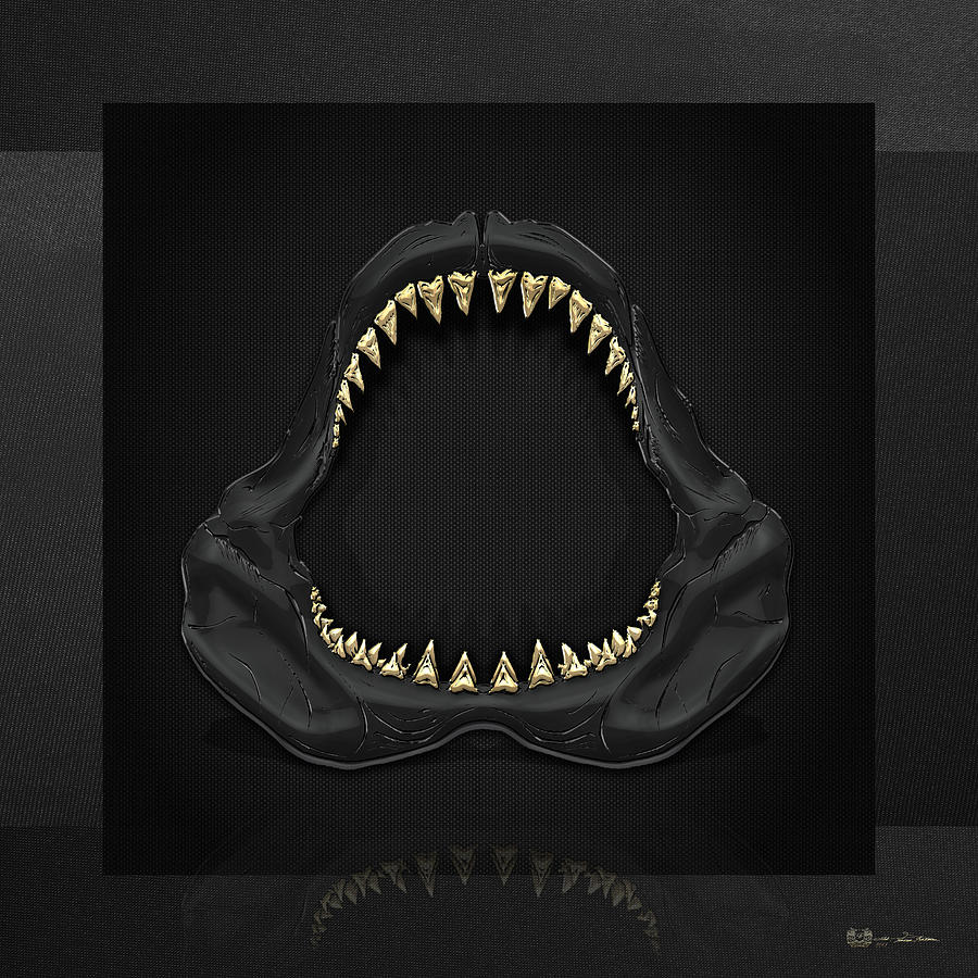 Shark Jaw Photograph - Great White Shark Jaws with Gold Teeth  by Serge Averbukh