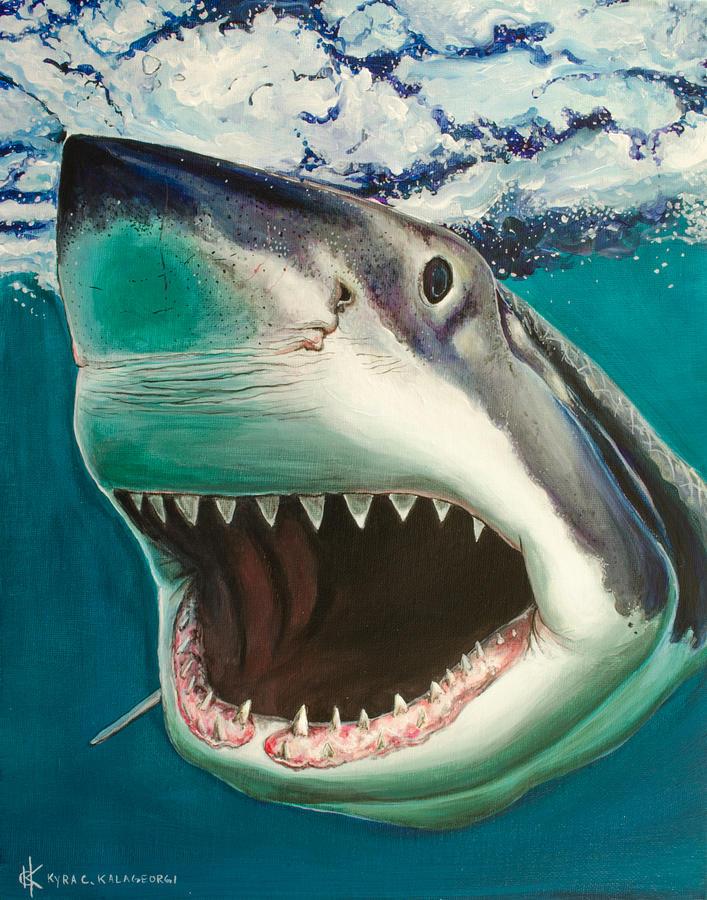 Great White Surf Painting by Kyra Kalageorgi  Great White Shark Painting