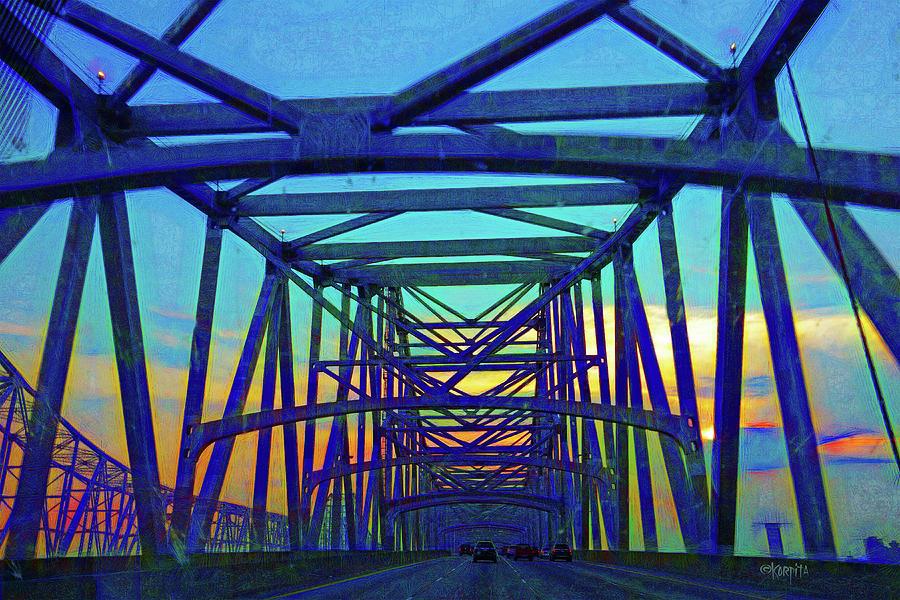 Greater New Orleans Bridge - Sunset by Rebecca Korpita