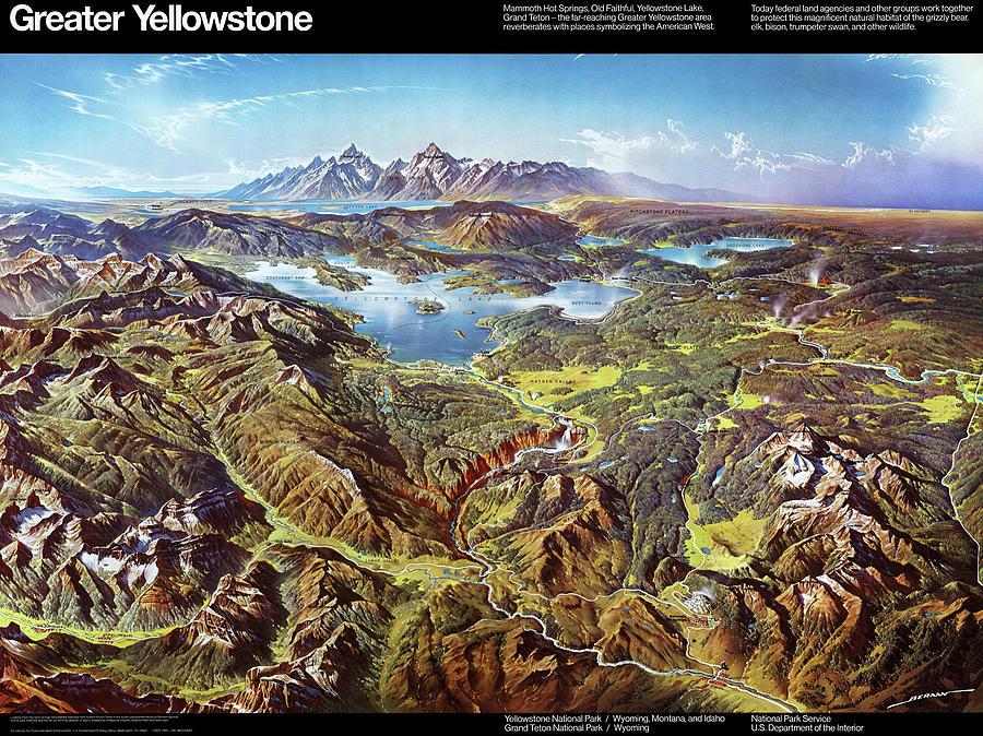 Greater Yellowstone - Birds Eye View Map Of Yellowstone National ...