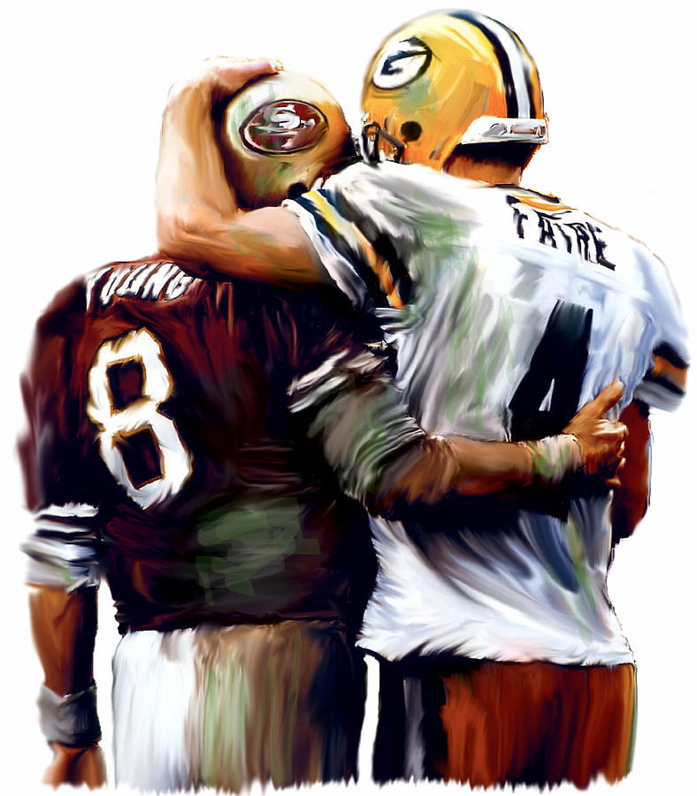 Football Collectibles Painting - Greatness  Brett Favre And Steve Young  by Iconic Images Art Gallery David Pucciarelli